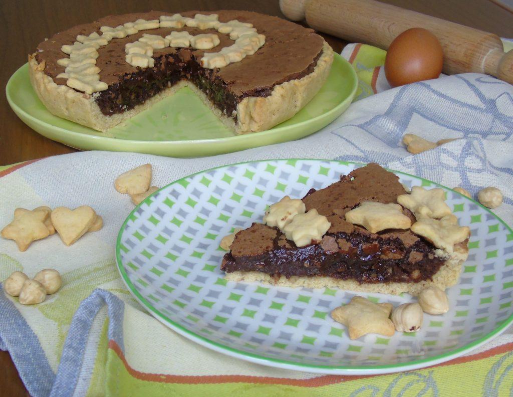 Crostata con cioccolato e nocciole